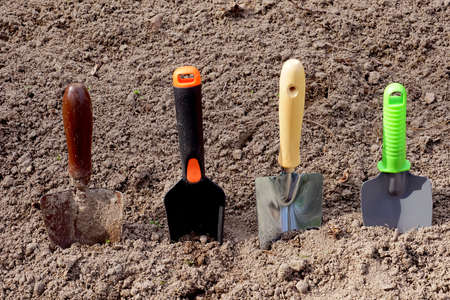 Four different garden paddles. Tools for working in the garden. Standard-Bild