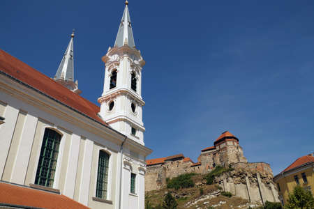 View of the Castle Hill in the Village of Esztergom. In the foreground, the Baroque church. Former Capital of Hungary. Éditoriale