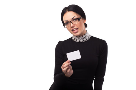 quirky: A quirky office girl with white placard in hand