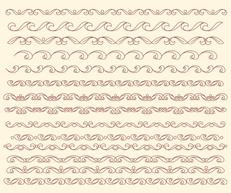 Set ornamental borders. Vector decorative elements.Brown beige.