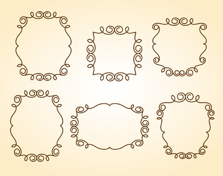 Set frames .Vintage vector.Well built for easy editing.Brown.