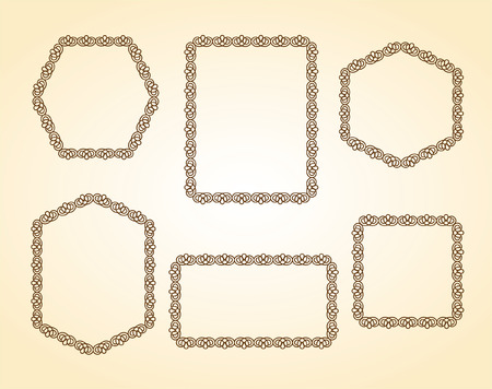 cartouche: Set frames .Vintage vector.Well built for easy editing.Brown.
