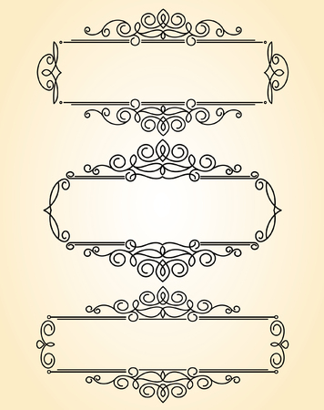 Set decorative frames .Vintage vector.Well built for easy editing.Brown. Çizim