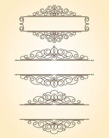 built: Set decorative frames .Vintage vector.Well built for easy editing.Brown. Illustration
