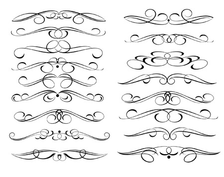 Calligraphic elements design.Decorative elements and calligraphic workpiece set isolated on white. For retro design and decoration