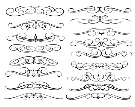 calligraphic design: Calligraphic elements design.Decorative elements and calligraphic workpiece set isolated on white. For retro design and decoration