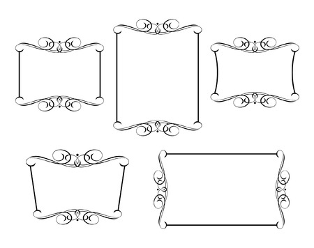 Set calligraphic frames .Vintage vector.Well built for easy editing.Black white.