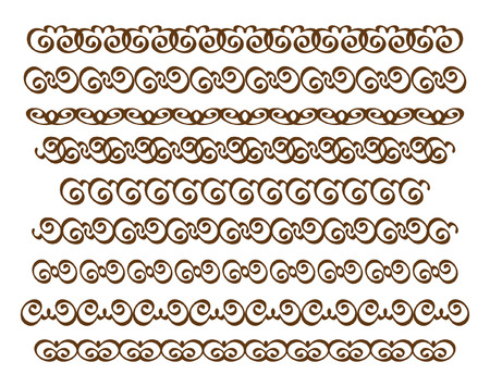 Set ornamental borders. Vector decorative elements.Brown white.