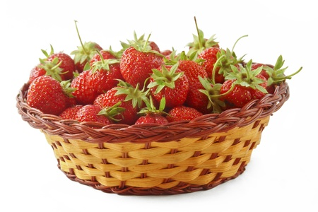 Fresh strawberries in a basket made ​​from natural mfteriala photo