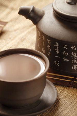 demitasse: Tea in demitasse and teapot with hieroglyphic