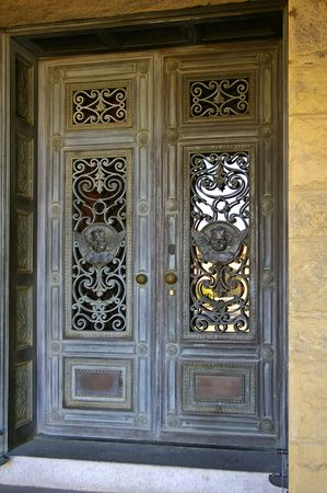 Architectural details, vintage church door at Stanford University, California photo
