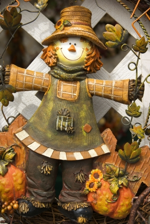 Details of Thanksgiving wreath with scarecrow Stock Photo - 1798136