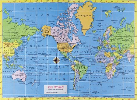 Vintage map of the world. Mercator projection