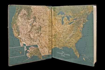 Open USA atlas published in 1947. Isolated on black background Reklamní fotografie - 3108745