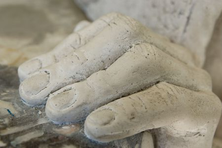 objects: Marble hand - closeup details of classical garden sculpture replica   Stock Photo