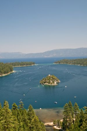 fannette: View on Boats and Fannette Island in Emerald Bay, lake Tahoe, California Stock Photo