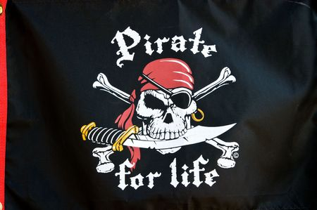 Pirate for life on black silk background