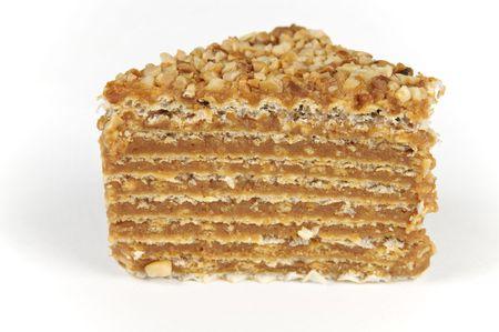layered caramel cake - isolated on white