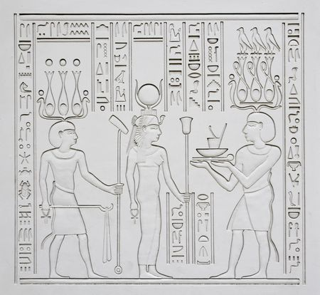 scribes: Ancient Egyptian hieroglyphics - replica on plaster wall Stock Photo