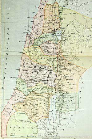 팔레스타인의 역사적인지도 (Ansient Israel). 1879 년 영국에서 출판 된 아틀라스 사진. 스톡 콘텐츠