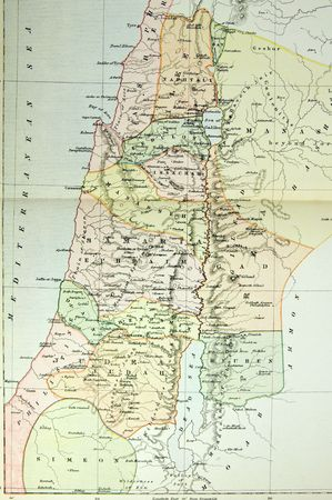 Historical map of Palestine (Ansient Israel). Photo from atlas published in 1879 in Great Britain.