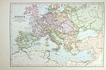 Carte historique de l'Europe (temps de Napoléon). Photo de l'atlas publié en 1879 en Grande-Bretagne. Banque d'images - 3842959