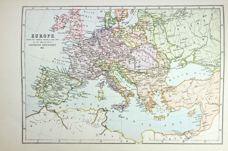 Historical map of Europe (time of Napoleon). Photo from atlas published in 1879 in Great Britain.