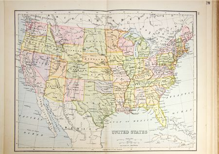 atlas: Historical map of USA. Photo from atlas published in 1879 in Great Britain.