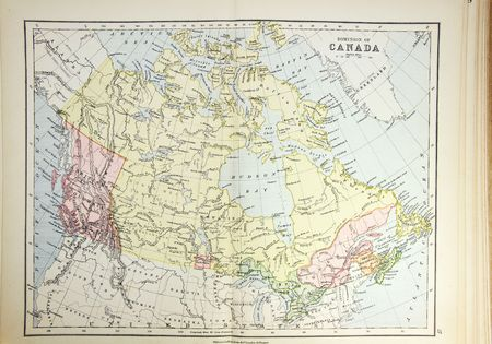 dominion: Historical map of Canada. Photo from atlas published in 1879 in Great Britain. Stock Photo