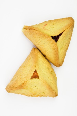 purim: Hamantashen pastries with apricot and raspberry for celebration of the Jewish Purim festifal