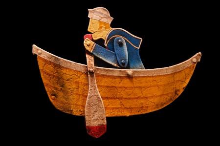 美少女戦士セーラームーン手漕ぎボート - 黒の背景上に分離されて面白いモデル 写真素材
