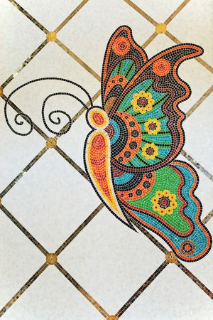 mosaic: Architectural details - colorful butterfly mosaic on building floor Stock Photo