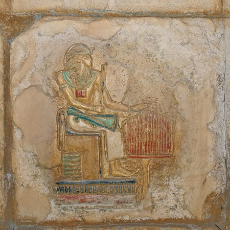 scribes: Replica of ancient Egyptian painted relief