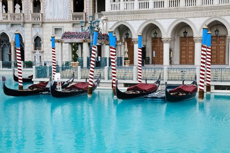 hotel: Gondolas at Venetian Hotel in Las Vegas Stock Photo