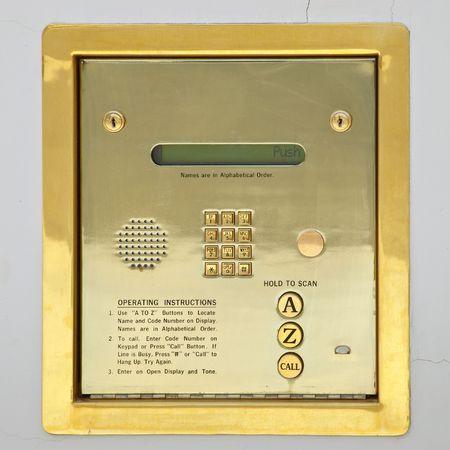 Golden apartment building sequrity keypad for access