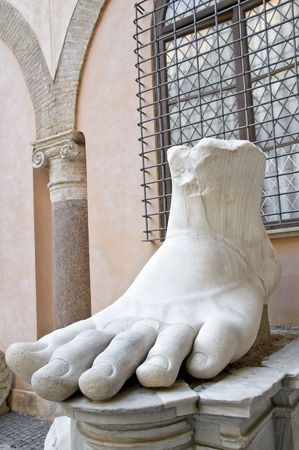 constantine: Foot of emperor Constantine, Capitoline Rome, Italy. Fragment of giant sculpture