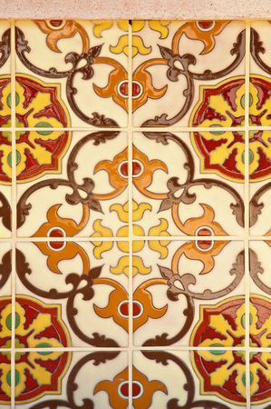spanish tile: Colorful vintage spanish style ceramic tiles wall decoration Stock Photo