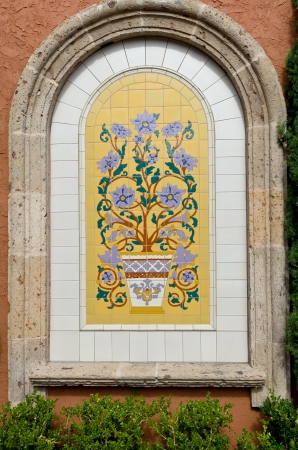 spanish style: Colorful vintage spanish style ceramic tiles wall decoration  Stock Photo