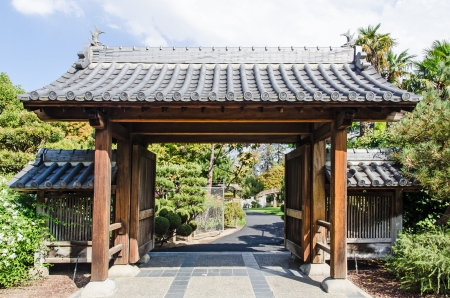 Japanese Garden In California   Entrance Gate Stock Photo   15889277