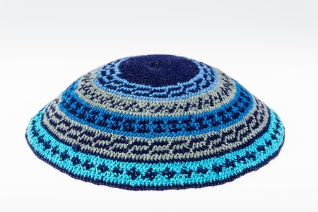 skullcap: Yarmulke - traditional Jewish headwear isolated on white