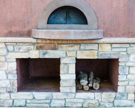 stone fireplace: Outdoor cooking stove - closeup