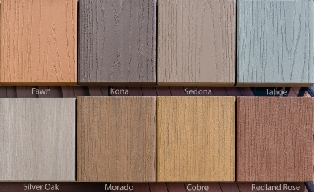 Composite wood samples on display in store