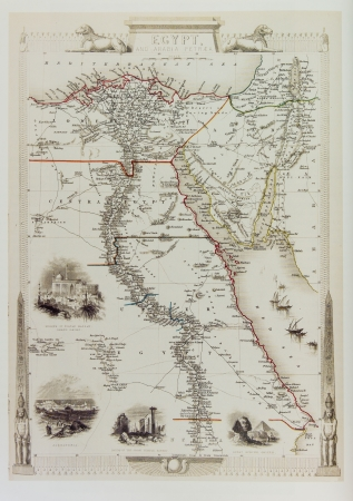 Historical map of Egypt and Arabia. From old atlas published in London, 1851