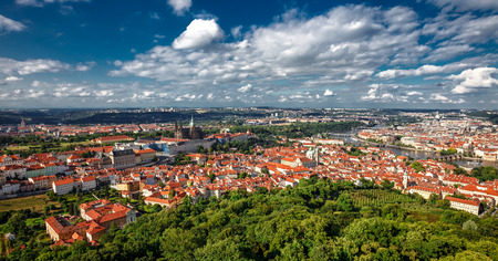 general cultural heritage: General view of Pragues historic center and the river Vltava. The historic center of Prague, ancient architecture, and cultural heritage