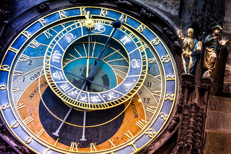 clock: Prague astronomical Clock on the Old Town Hall The historic center of Prague, ancient architecture, and cultural heritage