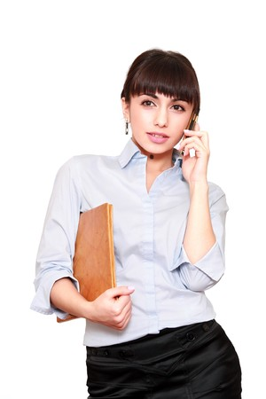 beautiful business woman with telephone isolated on white Stock Photo - 4117663