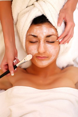 An attractive young lady getting a facial Stock Photo - 4117679