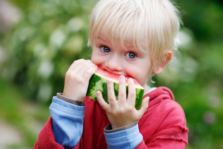 Picture of young boy and a slice of watermelon with big bite marks