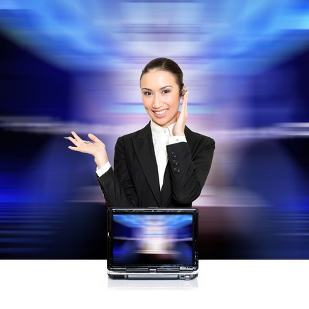 Business woman with a laptop with a opened screen. Insert your graphics on screen – very resourceful. Please see some of my other business images: Stock Photo - 4241927