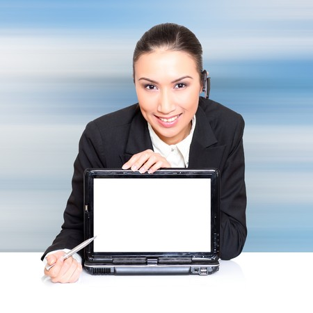 resourceful: Business woman with a laptop with a opened screen. Insert your graphics on screen � very resourceful. Please see some of my other business images: